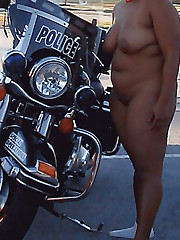 Naked Black mother on the big motorcycle