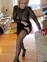 Gorgeous and almost naked mature dame..