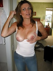 Huge-chested wife with pierced nipples..