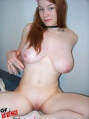 girl with hefty titties posing in..
