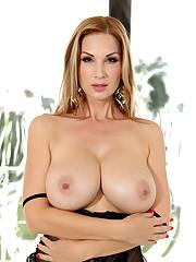 Cougar Carol peels sheer black lingerie..