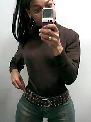 Black Girlfriend displaying her tits in..
