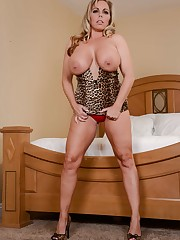 Amber Lynn Bach in leopard dress..