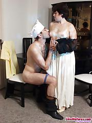 Brunette mature wife seduced cook