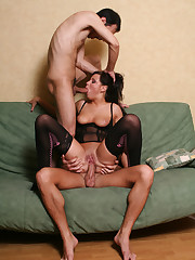 Stockinged pornographic star Prima hot..