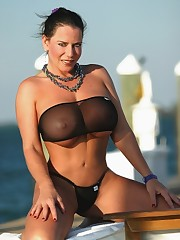 Busty Stunner Alicia Dimarco In Black..