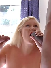 AgedLovE Buxom Mature got Two Dicks to..