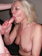 Amature towheaded milf sucks cum -..