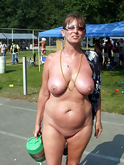 Mature amateurs in a town public..