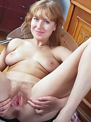 Buxomy ginger unshaved chick Aurora is..