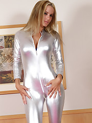 bowl cake  silver latex catsuit..