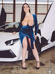 Angela Milky tits out in a blue dress -..