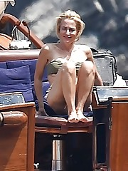 Gillian Anderson Bathing suit in Italy..
