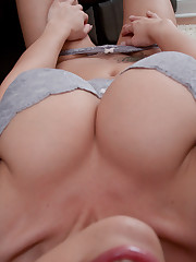 Hot breezy Nikki Sims on her knees..