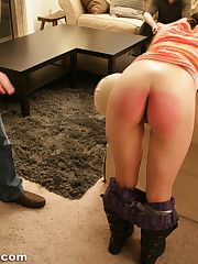 Naked bottom spanking little girl -..