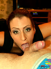 Dressed wife Missy munches the ballsack..