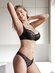Kate Upton dark-hued brassiere and..