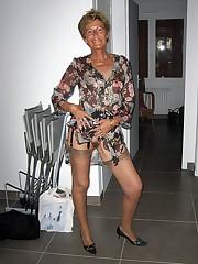 Skinny granny unsheathing her hairy..
