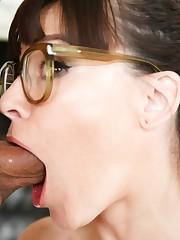 Nerdy brunette Dana DeArmond fellates a..