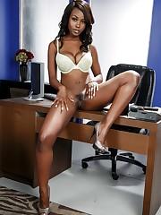 Leggy dark-hued model Jezabel Vessir..