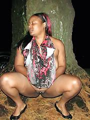 Meaty ebony ass in the woods