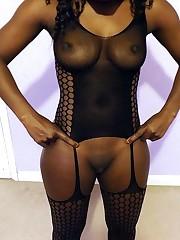 Black, dark-hued mom-slut in dark-hued..