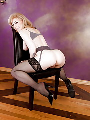 Nina Hartley-Black Stockings Mule  -..