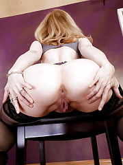 Nina Hartley-Black Stockings & Mule..