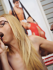 Nerdy blonde Alexa Grace gets a triple..