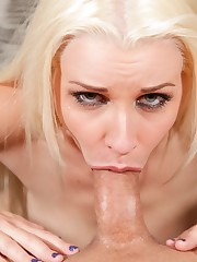 Platinum blonde girl Stevie Shae gags..