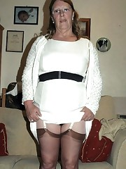 Ugly mature housewife in brief white..