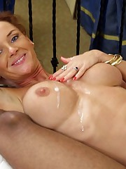 Dirty jizz flow on huge boobs, she..