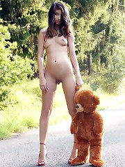 Sexy teenager lady going village road..