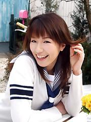 Asian college girl in uniform
