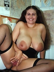 Big-boobed brunette plus-size in sexy..
