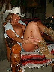 Huge boobies mature cowgirl awaits for..