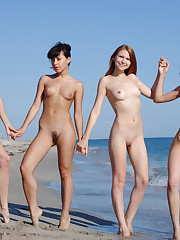 4 pale nymphs nude on the beach Nudist..