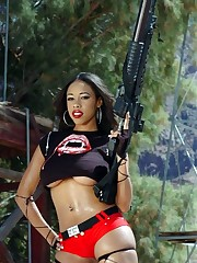 Curvy gal with giant tits, armed to the..