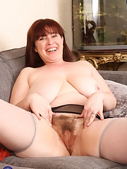 Obese British housewife playing with..