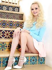 Curly platinum-blonde babe..