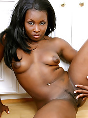 Cheery black MILF showcase her..
