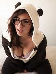 Hot doll in glasses furry costume play..