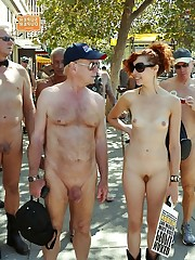 Amateur girls bare at naturist parade..