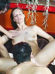 Lesbian sluts seducing pussies in..
