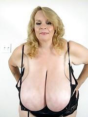 Plump senior wife flashing her enormous..