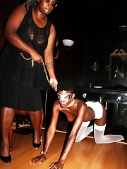 Beautiful BDSM masquerade with tall..