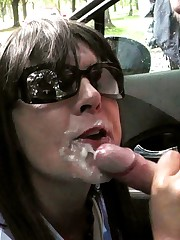 Trampy wife Marion gang-fucked in car..