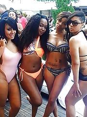 Unbelievable dark-hued babes in bikini..
