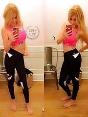 Pretty teen gal in leggings takes..