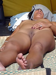 Kinky mature wifey sunbathing downright..